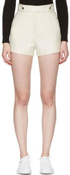 Courreges Ivory Button Belt Shorts