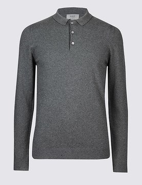 Marks and Spencer Cotton Rich Textured Polo Shirt