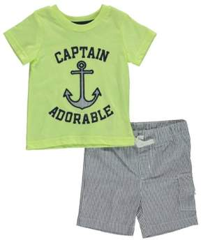 Carter's Baby Clothing Outfit Boys 2-Piece Neon Tee & Short Set Captain Adorable Yellow NB