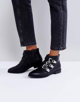 London Rebel Silver Trim Low Flat Ankle Boot