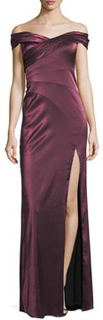 Aidan Mattox Banded Satin Off-the-Shoulder Evening Gown