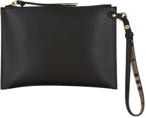 Burberry Grained Leather Pouch - BLACK - STYLE