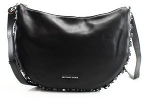 Michael Kors NWT Piper Leather Medium Messenger Crossbody Bag BLACK Silver - BLACKS - STYLE