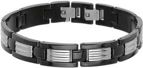 JCPenney FINE JEWELRY Mens Stainless Steel & Black IP Link Bracelet