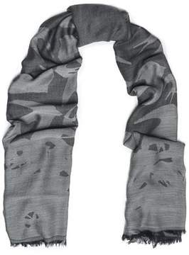 McQ Frayed Modal And Wool-Blend Jacquard Scarf