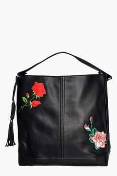 boohoo Alyssa Embroidered Hobo Shoulder Bag