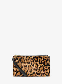 Michael Kors Jet Set Travel Leopard Calf Hair Wristlet - BROWN - STYLE