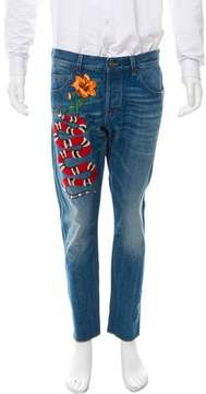 Gucci Kingsnake-Embroidered Cropped Jeans