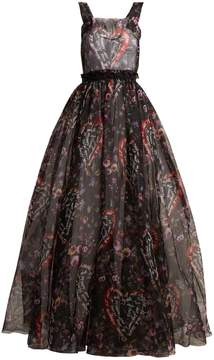 Dolce & Gabbana Graphic floral-print organza-silk gown