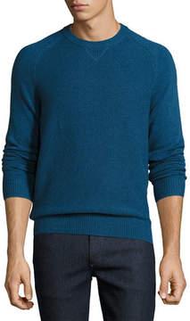 Neiman Marcus Tuck-Stitch Cashmere Crewneck Sweater
