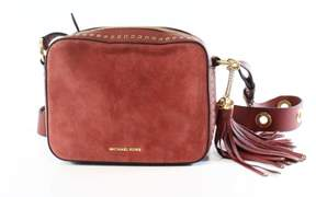 Michael Kors Brick Red Suede Large Brooklyn Cross Body Purse - REDS - STYLE