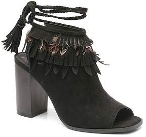 Two Lips Too Rachael Fringe Peep Toe Block Heel Bootie