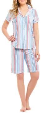 Karen Neuburger Striped-Printed Bermuda Pajama Set