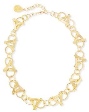 Devon Leigh Short Golden Triangle-Link Necklace