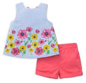 Little Me Baby Girl's Two-Piece Cotton Striped Top and Border Woven Shorts Set