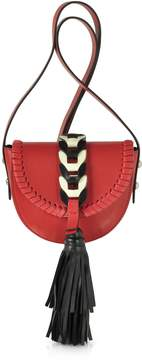 RED Valentino Fire Red Ivory And Black Tassel Shoulder Bag