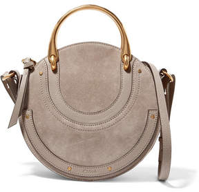 Chloé Pixie Suede And Textured-leather Shoulder Bag - Gray
