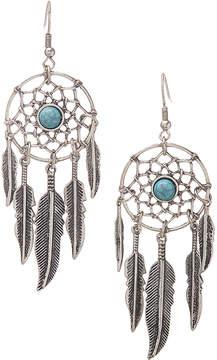 Carole Imitation Turquoise & Silvertone Dream Catcher Drop Earrings