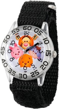 Disney Tsum Tsum, Tigger, Pooh, Goofy, Eeyore and Piglet Boys' Clear Plastic Time Teacher Watch, Black Hook and Loop Nylon Strap with Black Backing