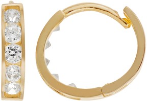 Swarovski Charming Girl Charming Cubic Zirconia Girl 14k Gold Hoop Earrings - Made with Zirconia - Kids