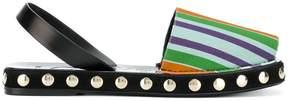 Loewe striped canvas slingback sandals
