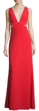 Halston Sleeveless Deep-V Evening Gown w/ Side Cutouts