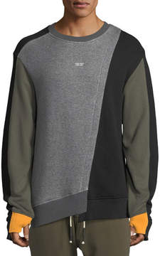 Mostly Heard Rarely Seen Mixed-Media Asymmetric Crewneck Sweatshirt