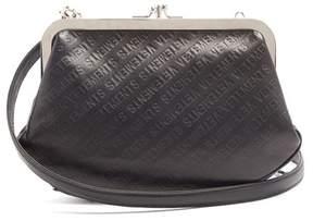 Vetements Granny Logo Debossed Leather Cross Body Bag - Womens - Black