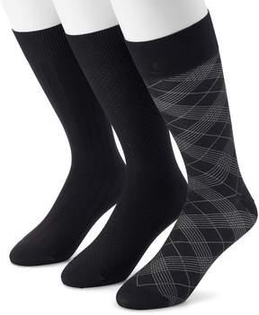 Marc Anthony Men's 3-pack Textured & Patterned Microfiber Dress Socks