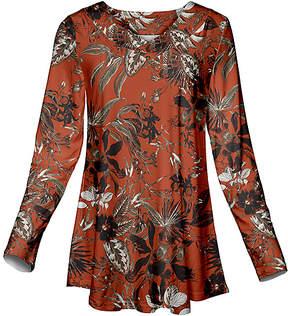 Azalea Orange & Black Floral Long Sleeve V-Neck Tunic - Women & Plus