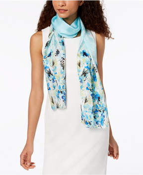 Calvin Klein Garden Floral Silk Mesh Scarf