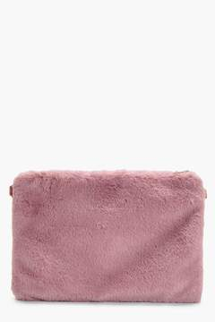 boohoo Darcy Faux Fur Ziptop Clutch