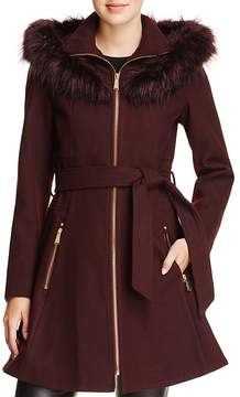 Laundry by Shelli Segal Faux Fur Trim Belted Fit & Flare Coat