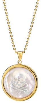 Asha Women's Skull Long Mother-Of-Pearl Pendant Necklace