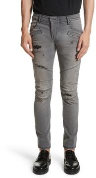 Pierre Balmain Men's Distressed Moto Jeans