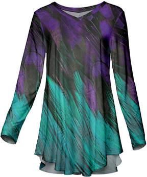 Azalea Turquoise & Purple Abstract Long-Sleeve Tunic - Plus