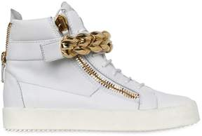 Giuseppe Zanotti Design Chain Bangle Leather High Top Sneakers