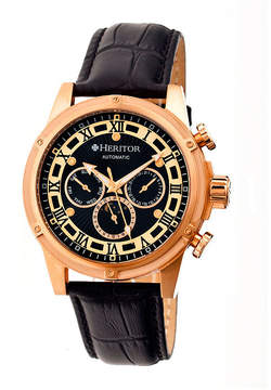 Heritor Automatic Kinser Mens Leather Day&Date-Rose Gold Tone/Black Watch