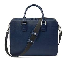 Aspinal of London Large Mount Street Bag In Navy Saffiano