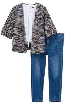 7 For All Mankind Short Sleeve Cardigan, Tee, & Skinny Jean 3-Piece Set (Toddler Girls)