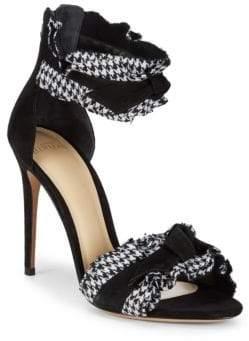 Alexandre Birman Ruched Leather Stiletto Sandals