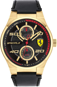 Ferrari Men's Speciale Multi Black Leather Strap Watch 44mm 0830417