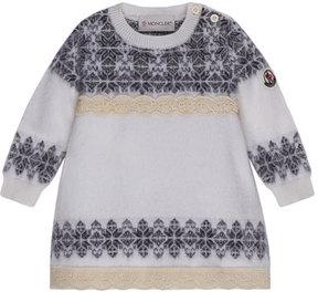 Moncler Abito Tricot Wool-Blend Dress, Size 12M-3T