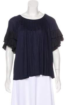Muveil Pleated Short Sleeve Top