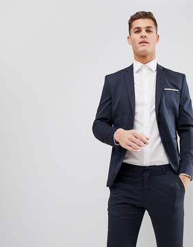 Selected Slim Tuxedo Suit Jacket In Jacquard Weave