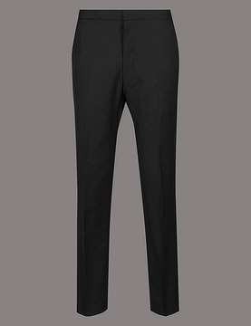 Marks and Spencer Black Tailored Fit Italian Wool Trousers