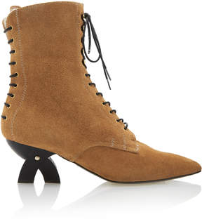 Loewe Shearling-Lined Suede Lace-Up Boots
