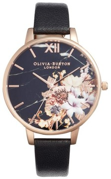 Olivia Burton Women's Marble Floral Leather Strap Watch, 38Mm