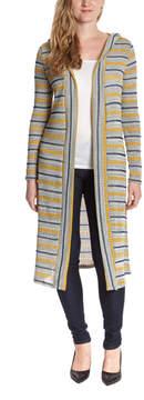 Celeste Mustard & Navy Stripe Hooded Duster - Women