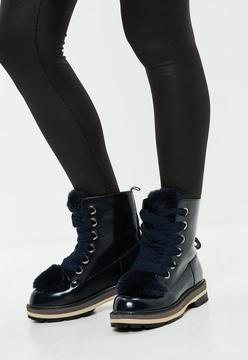 Missguided Navy Faux Fur Tongue High Shine Ankle Boots